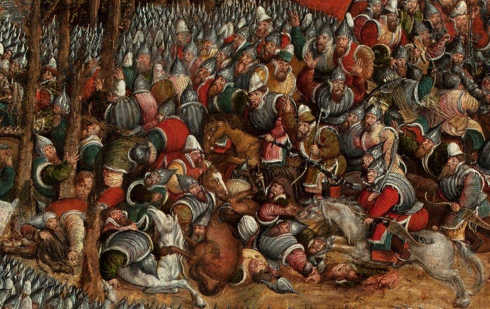 Bitwa pod Orszą - detal Fragment ukazujący finalną już scenę bitwy - oddziały moskiewskie rzucają się do ucieczki. Źródło: artysta nieznany, Bitwa pod Orszą - detal, między 1525-1540, tempera na dębowej desce, Muzeum Narodowe wWarszawie, domena publiczna.
