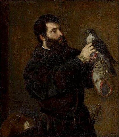 Obraz przedstawia ciemnowłosego brodatego mężczyznę, który głaszcze sokoła, który siedzi na rękawicy sokolniczej.