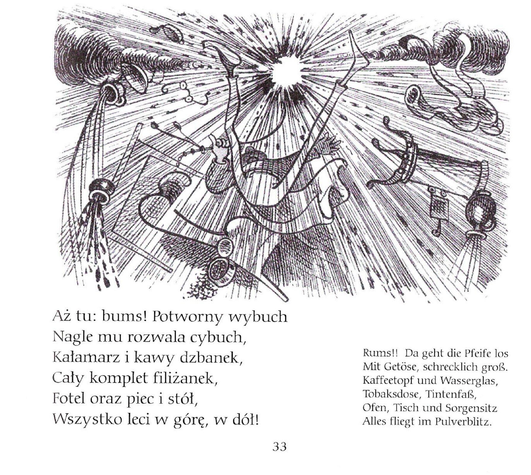 Czarnobiała ilustracja przedstawiająca wybuch, męzczyzna spada zfotela, filiżanki, kałamarz piec istół wszystko wyleciało wgórę.