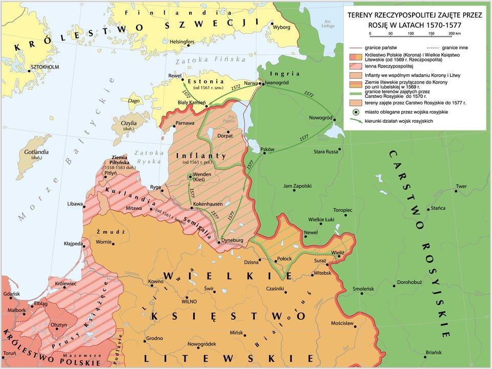 Mapa przedstawia tereny Rzeczypospolitejzajęte przez Rosję wlatach 1570-1577