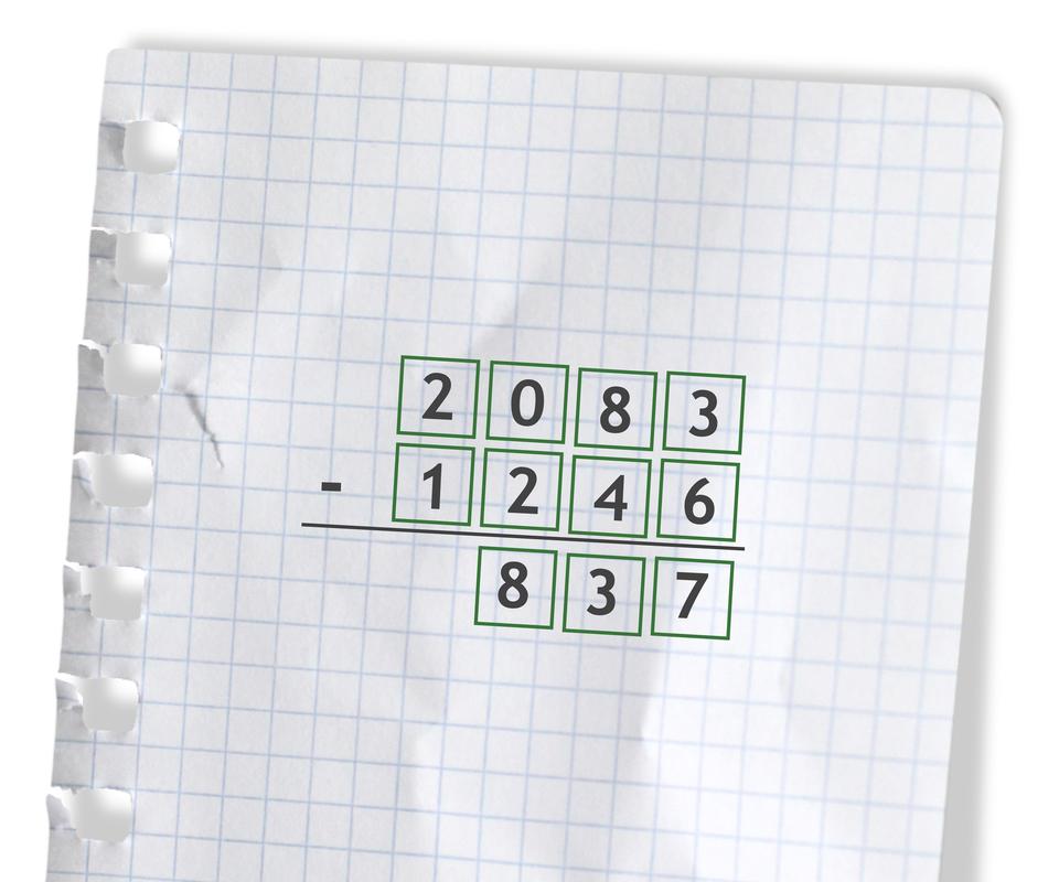 Przykład: 2083 -1246 =837. Rozwiązanie zadania podpunkt a.