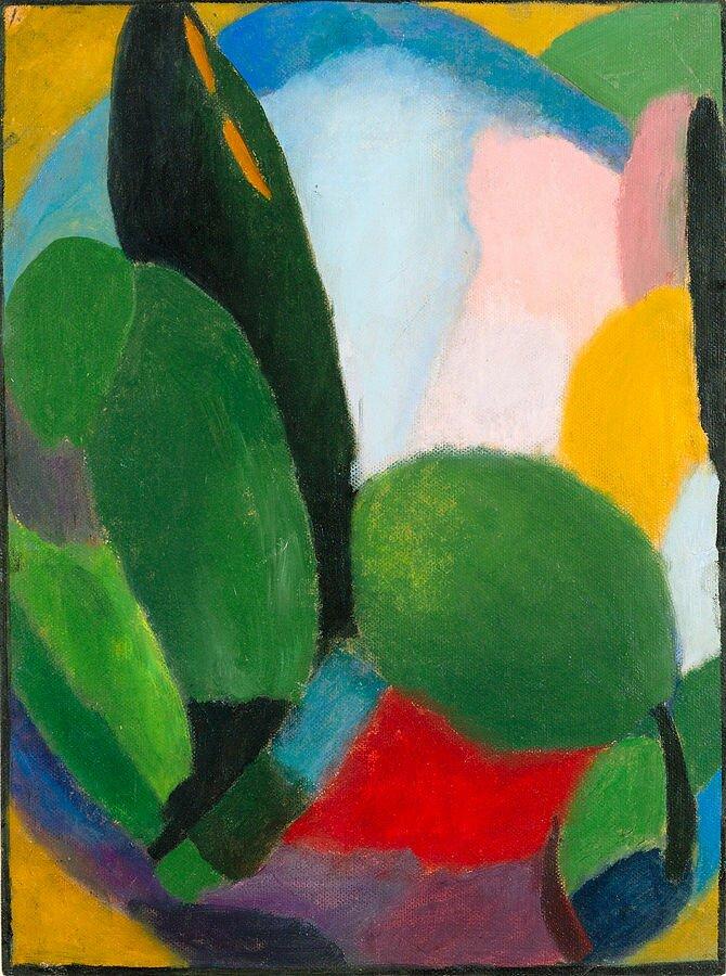 Wariacja Źródło: Aleksiej Jawlensky (1864–1941; czyt.: aleksiej jawlenski – rosyjski malarz), Wariacja, 1916, Christie's, Nowy Jork, domena publiczna.