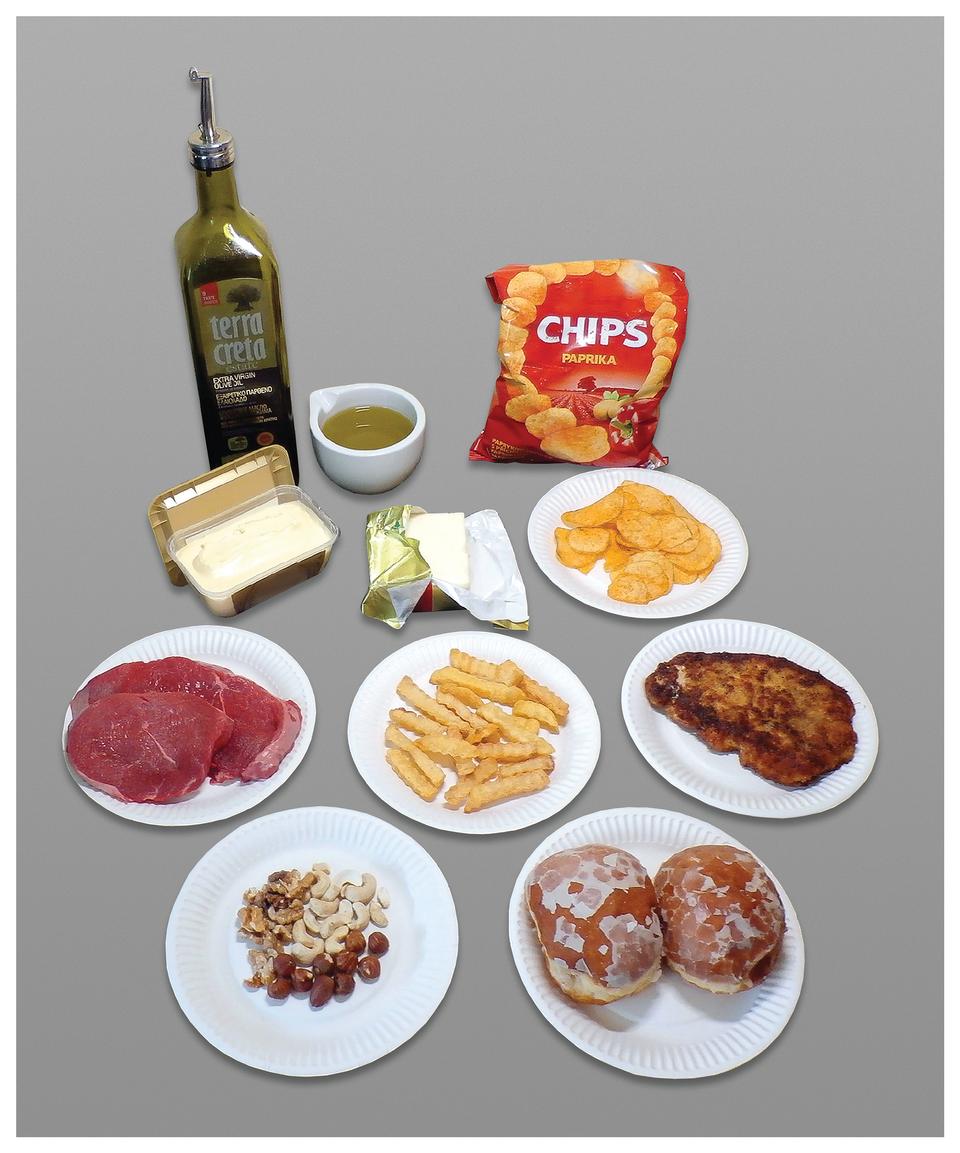 Ilustracja przedstawia produkty spożywcze, bogate wtłuszcze. Od lewej zielona butelka oliwy, obok biała filiżanka zżółtym olejem. Przed butelką otwarte pudełko margaryny iopakowanie masła. Zprawej czerwona paczka itrochę chipsów na talerzyku. Zlewej czerwone płaty surowego mięsa, dalej frytki ismażony panierowany kotlet. Udołu na talerzykach jasne ibrązowe orzechy oraz lukrowane pączki.