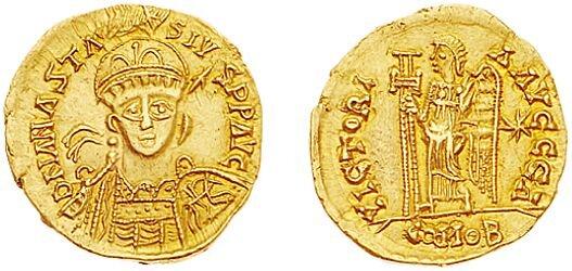 Złoty solid frankijski zVw. zprzedstawieniem cesarza Anastazjusza Złoty solid frankijski zVw. zprzedstawieniem cesarza Anastazjusza Źródło: licencja: CC 0.