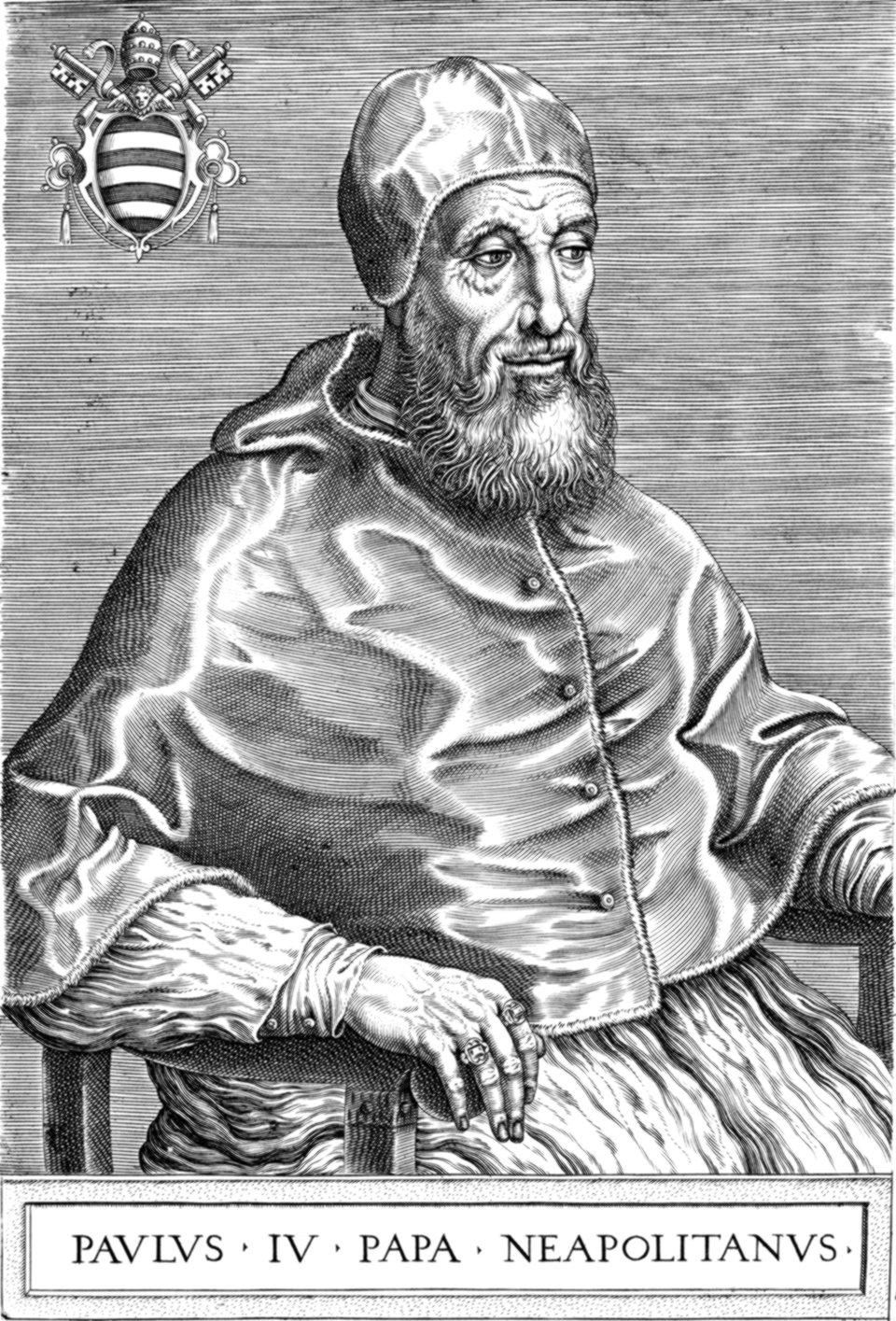 Paweł IV (Govanni Pietro Carafa – 1555-1559) Źródło: Onofrio Panvinio, Paweł IV (Govanni Pietro Carafa – 1555-1559), przed 1568, domena publiczna.