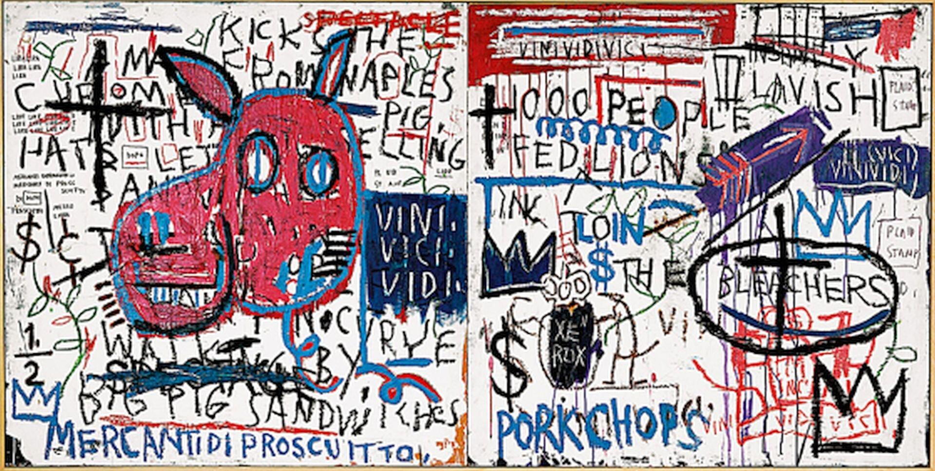 """Ilustracja przedstawia graffiti Jeana Michela Basquiata """"Człowiek zNeapolu"""". Ukazuje ścianę zamalowaną przez artystę, na której znajdują się napisy oraz łeb zwierzęcia. Napisy wykonane są wkolorach czarnym iniebieskim. Po prawej stronie znajdują się też symbole: korona, krzyż, znak dolara, strzała."""