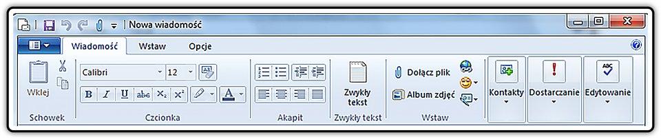 Zrzut fragmentu okna: Nowa wiadomość