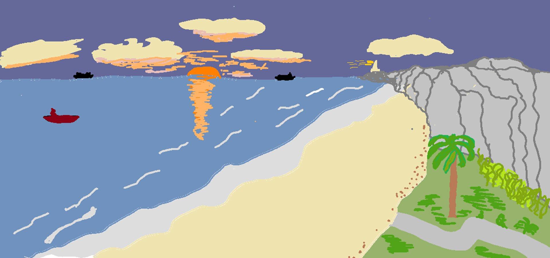 Ilustracja przedstawiająca zachód nad morzem