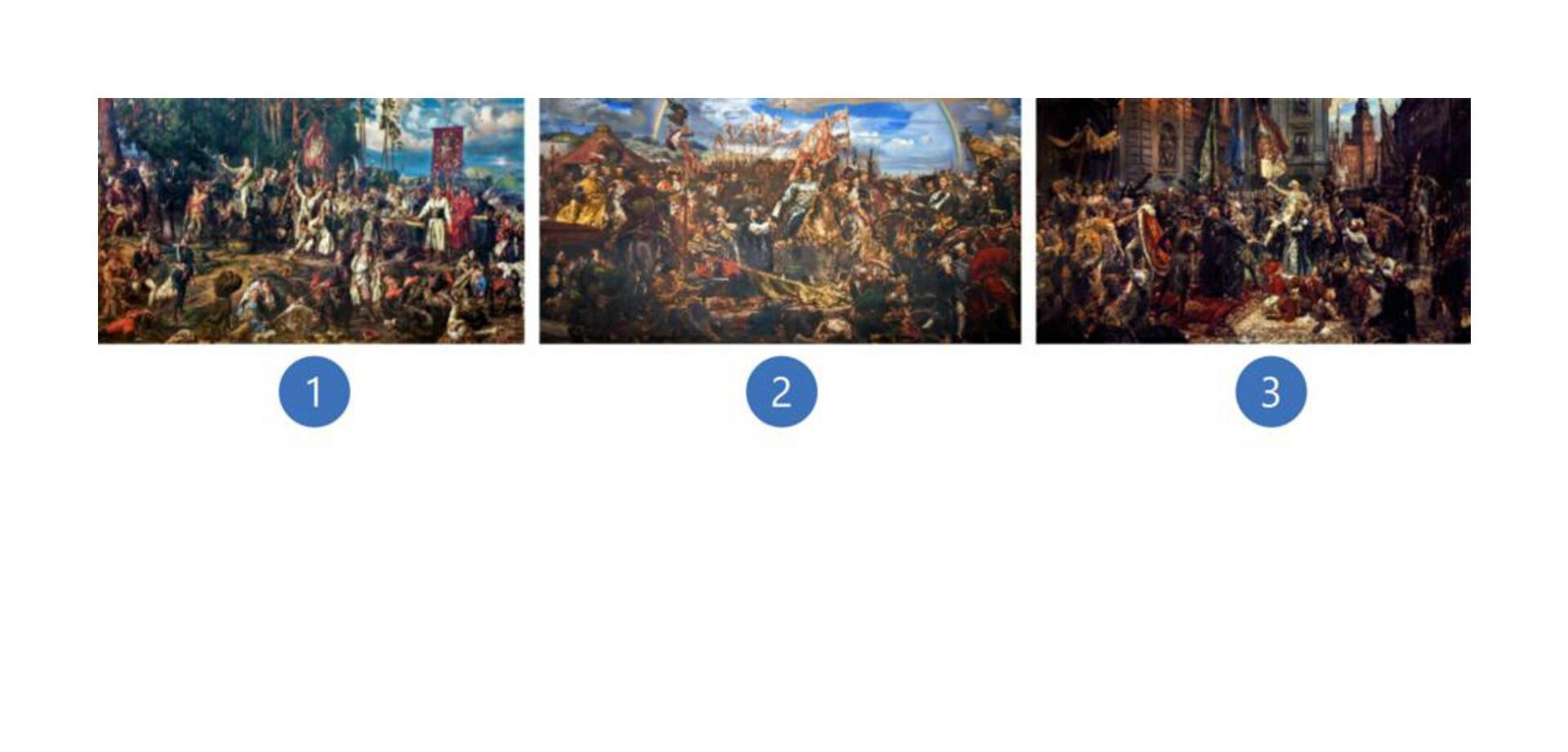 Wzadaniu zostały wykorzystane trzy dzieła sztuki Jana Matejko. Pierwszy znich przedstawia Tadeusza Kościuszkę pod Racławicami, mężczyzna ubrany jest wmodny frak mundurowy. Drugie dzieło przedstawia scenę, podczas której król Jan III Sobieski siedząc na koniu, wręcza list kanonikowi Denhoffowi wysłannikowi papieża Innocentego XI, zwiadomością opokonaniu wojsk tureckich ubram Wiednia. Trzecie dzieło przedstawia pochód posłów zZamku Królewskiego do kolegiaty św. Jana. Pochód podąża ul. Świętojańską wśród rozentuzjazmowanego tłumu mieszkańców Warszawy. Przejście ochraniają żołnierze prezentujący broń. Wgłębi, uwylotu ul. Świętojańskiej na pl. Zamkowy, widoczny jest fragment fasady Zamku Królewskiego zwieżą Zygmuntowską.