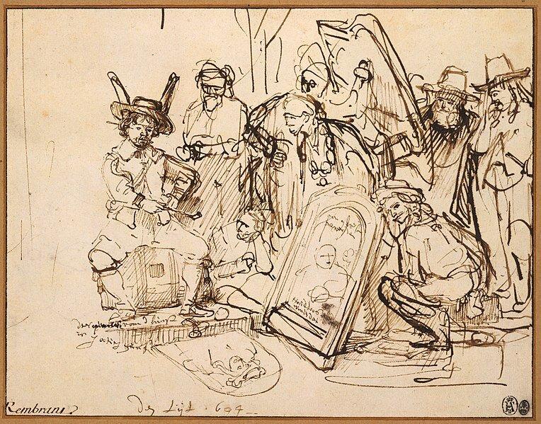 Ilustracja przedstawiająca dwoje ludzi siedzących wpięknym XVIII wiecznym salonie przy kominku. Wokół nich panuje bałagan poprzewracane krzesła, śmieci na dywanie. Przed nimi wystraszony służący. Są to ludzie zamożni, salon jest bardzo elegancki iwytworny. Na ścianach znajduje się wiele ozdób, obrazów. Nad kominkiem znajdują się cenne pamiątki. Wprawym dolnym rogu obrazu obok mężczyzny znajduje się mały wesoły, kudłaty piesek.