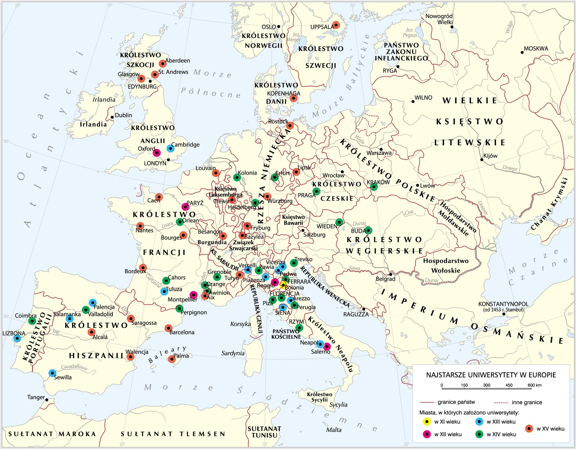 Uniwersytety wEuropie do końca XV wieku Uniwersytety wEuropie do końca XV wieku Źródło: Krystian Chariza izespół, mapa.