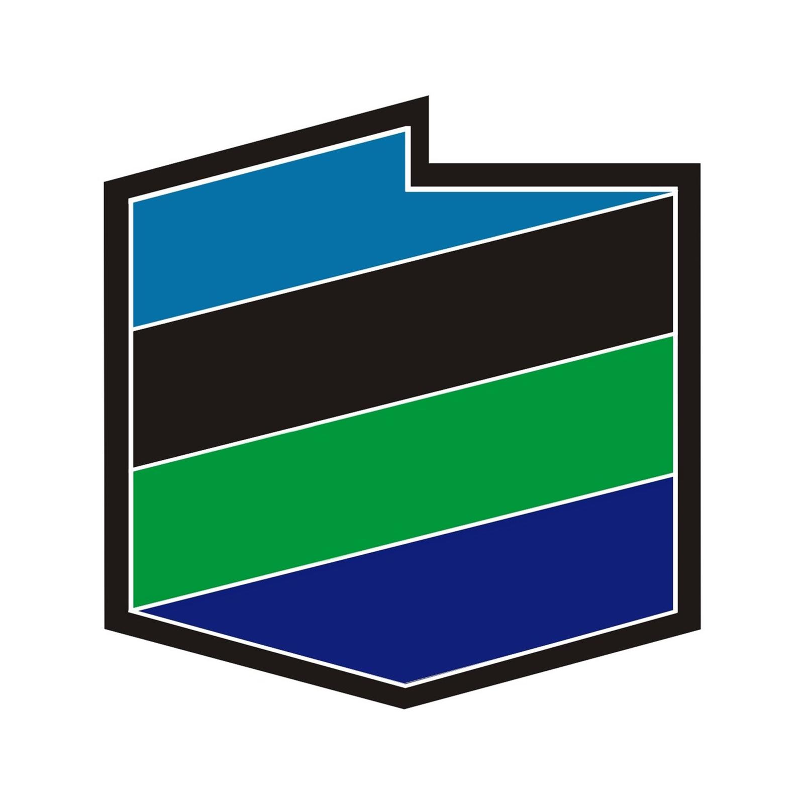 Logo wformie konturów mapy Polski. Wokół czarna obwódka. Powierzchnia logo podzielone prostokątnymi pasami. Pasy ułożone ukośnie, równolegle przylegając krawędziami. Pasy wznoszą się od lewej do prawej. Kolory pasów zmieniają się. Na dole kolor granatowy, wyżej zielony, następnie czarny ina górze niebieski.
