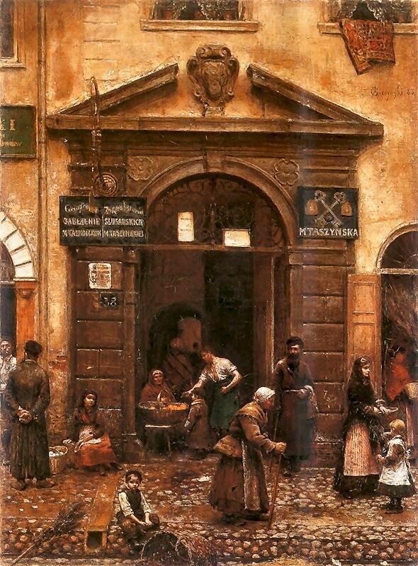 Brama na Starym Mieście Źródło: Aleksander Gierymski, Brama na Starym Mieście, 1883, obraz olejny, Muzeum Sztuki Łódź, domena publiczna.
