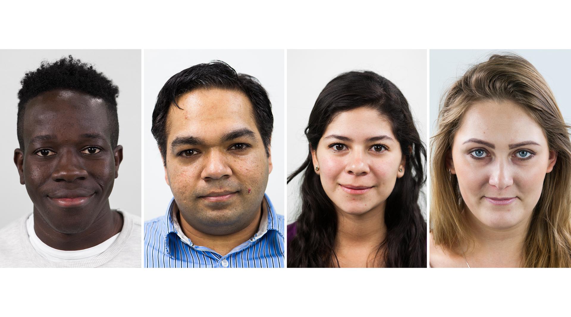 Fotografie przedstawiają portrety czterech osób różnej płci ioróżnym kolorze skóry.