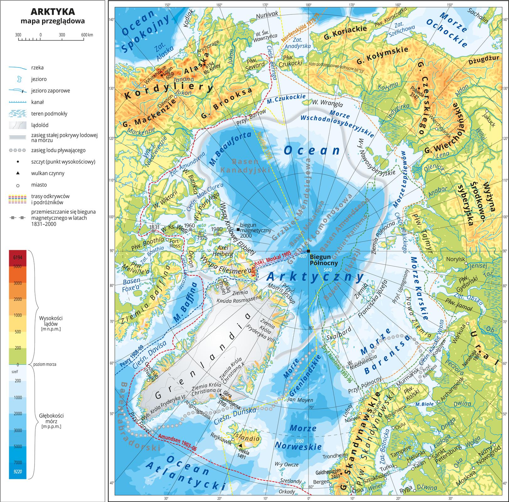 Ilustracja przedstawia mapę przeglądową Arktyki. Wobrębie lądów występują obszary wkolorze zielonym, żółtym, pomarańczowym iczerwonym. Morza zaznaczono sześcioma odcieniami koloru niebieskiego. Na mapie opisano nazwy wysp, półwyspów, głównych nizin, wyżyn ipasm górskich, mórz, zatok, rzek ijezior. Oznaczono iopisano główne miasta. Oznaczono czarnymi kropkami iopisano szczyty górskie. Mapa pokryta jest równoleżnikami ipołudnikami. Dookoła mapy wbiałej ramce opisano współrzędne geograficzne co dziesięć stopni. Wlegendzie umieszczono iopisano znaki użyte na mapie.