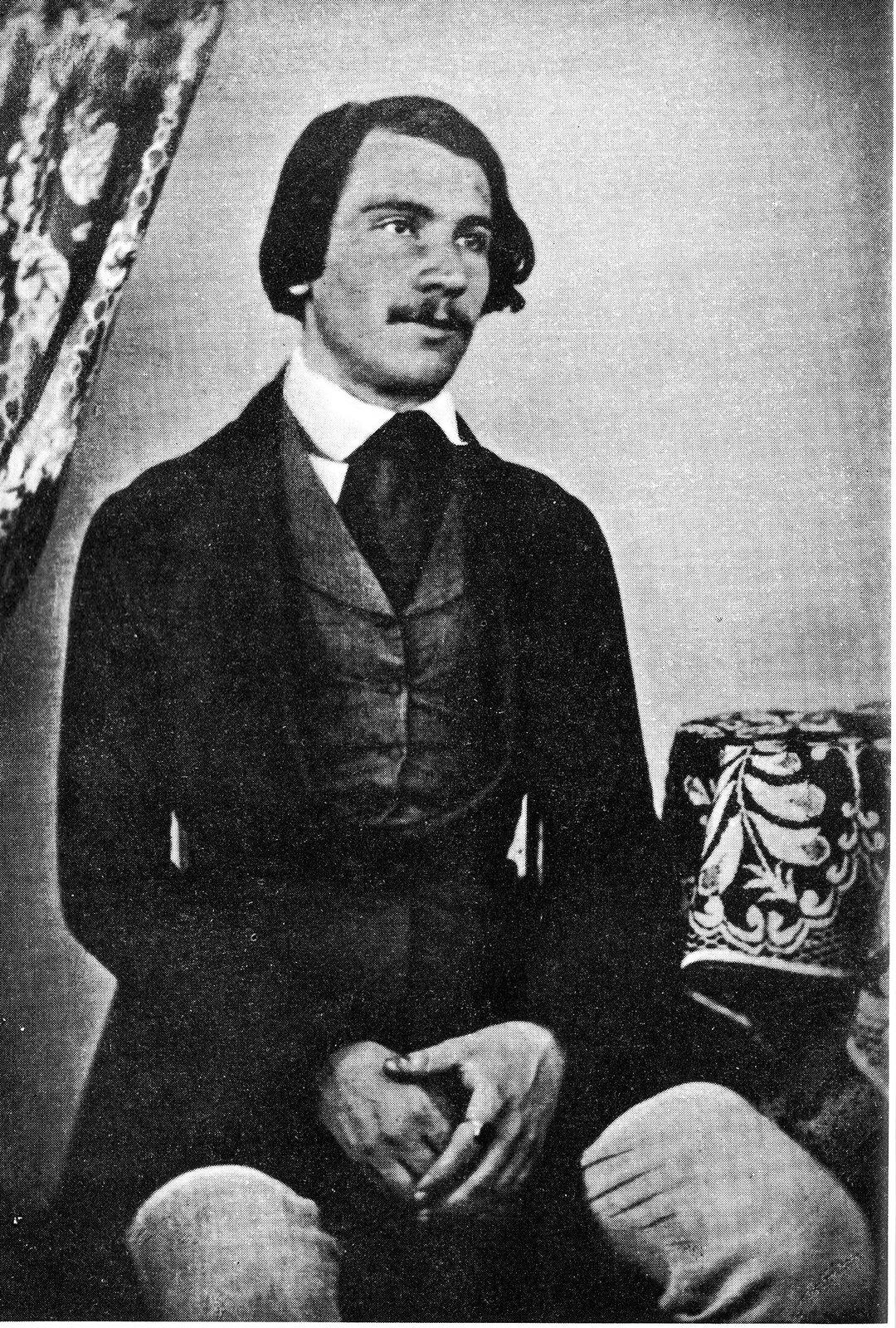 """Jacob Burckhardt (1818-1897) – szwajcarski historyk, upowszechniłokreślenie """"renesans"""" (""""odrodzenie"""") Jacob Burckhardt (1818-1897) – szwajcarski historyk, upowszechniłokreślenie """"renesans"""" (""""odrodzenie"""") Źródło: ok. 1840, Fotografia, domena publiczna."""