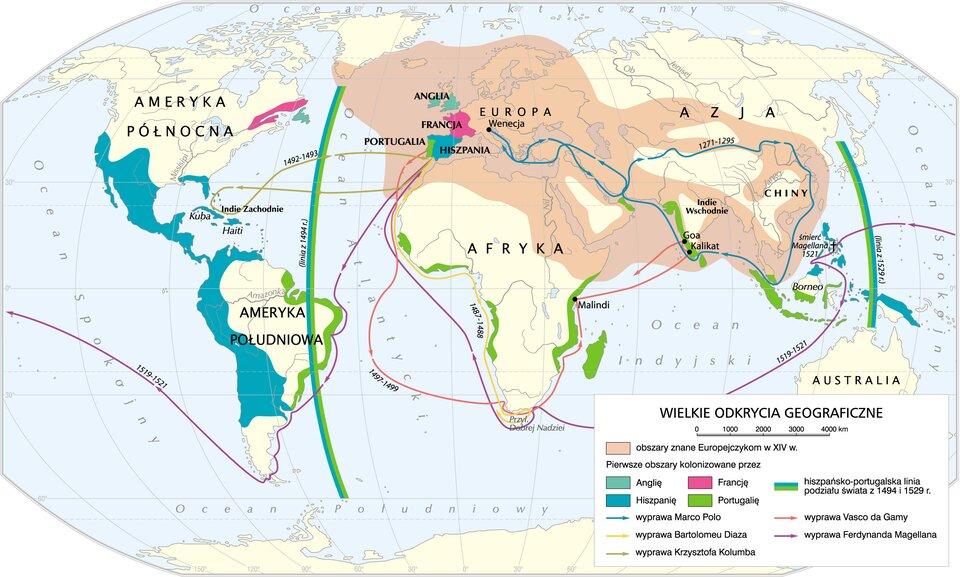 Wielkie odkrycia geograficzne Źródło: Krystian Chariza izespół, Wielkie odkrycia geograficzne, licencja: CC BY-SA 3.0.