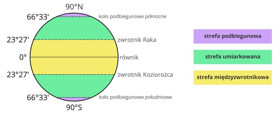 Ilustracja przedstawia kulę ziemską. Kula ziemska podzielona jest kilkoma poziomymi liniami. Dokładnie wpołowie pozioma linia dzieląca kulę na dwie równe półkule. To równik. Zero stopni. Powyżej iponiżej równika, żółty obszar sięga od zwrotnika Koziorożca do zwrotnika Raka. Żółty obszar to strefa międzyzwrotnikowa. Powyżej iponiżej tej strefy, strefa zielona umiarkowana. Półkula południowa. Zielony poziomy obszar rozciąga się od zwrotnika Koziorożca do koła podbiegunowego południowego. To strefa umiarkowana. Zwrotnik Koziorożca to 23 stopnie i27 minut szerokości geograficznej południowej. Koło podbiegunowe południowe to 66 stopni i33 minuty szerokości geograficznej południowej. Na południu zaznaczony biegun 90 stopni. Między kołem podbiegunowym abiegunem obszar pokryty kolorem fioletowym. To strefa podbiegunowa. Na półkuli północnej. Powyżej zwrotnika Raka obszar zielony sięga do koła podbiegunowego północnego. Zwrotnik Raka to 23 stopnie i27 minut szerokości geograficznej północnej. Koło podbiegunowe północne to 66 stopni i33 minuty szerokości geograficznej północnej. Na samej górze kuli ziemskiej biegun północny. 90 stopni. Między kołem podbiegunowym abiegunem obszar pokryty kolorem fioletowym. To strefa podbiegunowa.