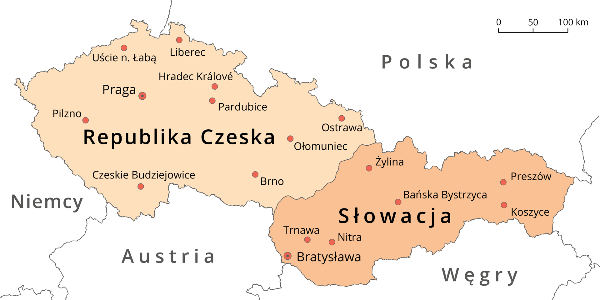 Na ilustracji mapa. Kolorem jasnopomarańczowym zaznaczono Republikę Czeską po zachodniej stronie mapy. Kolorem ciemnopomarańczowym zaznaczono Słowację po wschodniej stronie mapy. Zaznaczono stolice igłówne miasta. Opisano państwa sąsiadujące. Od północy – Polska. Od południa – Niemcy, Austria iWęgry.