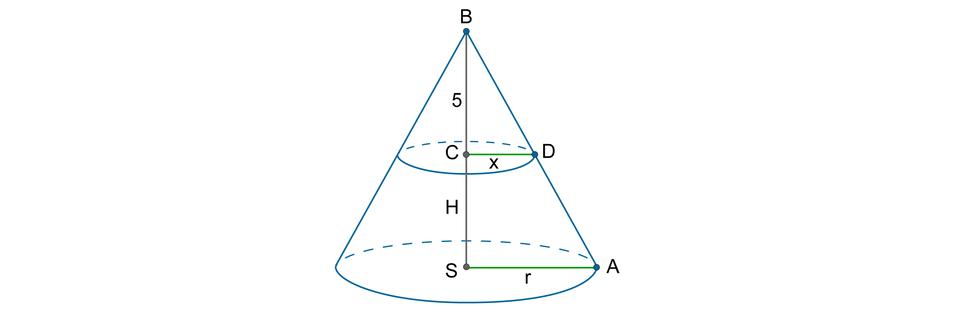 Rysunek stożka opromieniu podstawy SA = roraz zaznaczonym przekrojem poprzecznym wkształcie koła opromieniu CD = x. Punkty AiDleżą na tworzącej stożka. Wysokość stożka podzielona na dwa odcinki SC = Horaz CB = 5.