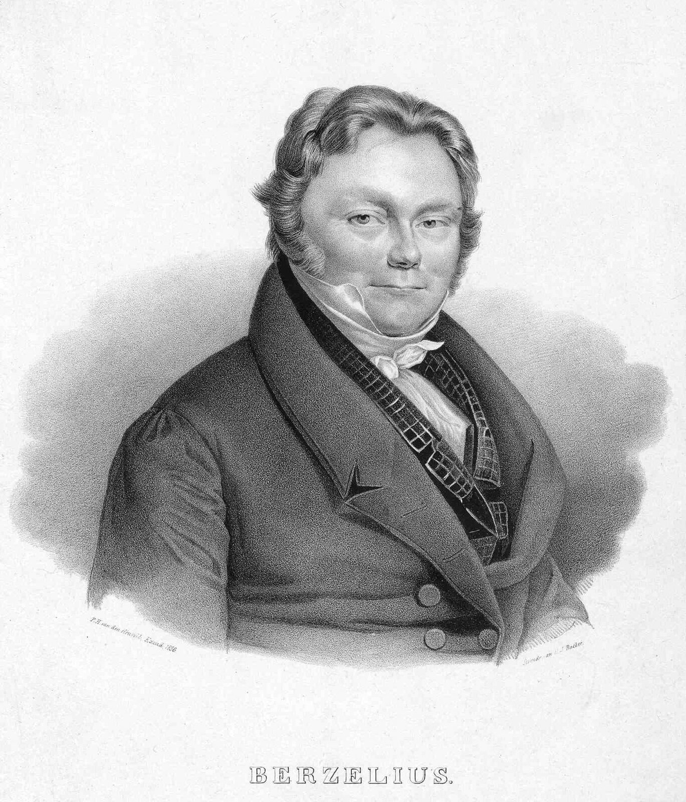 Portret Jönsa Jacoba Berzeliusa, szwedzkiego chemika imineraloga żyjącego na przełomie XVIII iXIX wieku, odkrywcy wapnia, selenu, krzemu, cyrkonu, tytanu itoru. Portret litograficzny z1836 roku autorstwa P.H. van den Heuvella.