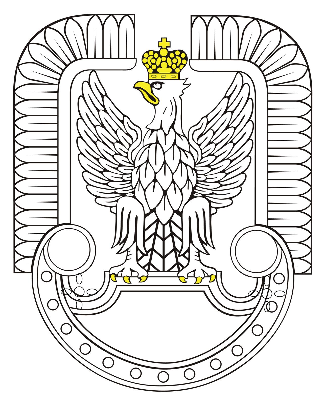 Ilustracja przedstawia symbol sił powietrznych stylizowany na godło orła polskiego. Biały orzeł ze skrzydłami wzniesionymi ku górze. Głowa zżółtym dziobem skierowana wprawo. Na głowie żółta korona. Na szczycie korony krzyż równoramienny. Szpony orła zakończone żółtymi pazurami przytrzymują tarczę. Orzeł osadzony jest na tarczy amazonek. Tarcza zakończone półkoliście wdolnej części. Kształt tarczy tworzy formę półksiężyca ułożonego poziomo. Końce tarczy zaokrąglone. Wnętrze tarczy białe. Wokół skrzydeł orła ramka wkształcie skrzydeł husarii. Ramka wsparta na wysokości zakończenia tarczy.