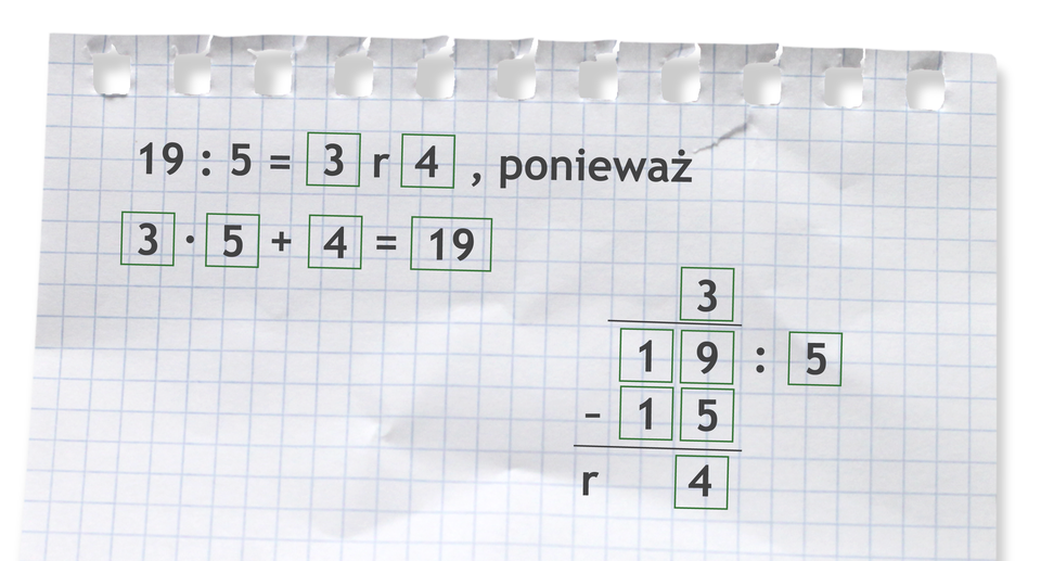 Przykład: 19 dzielone przez 5 =3 r4, ponieważ 3 razy 5 +4 =19. Rozwiązanie zadania podpunkt a.