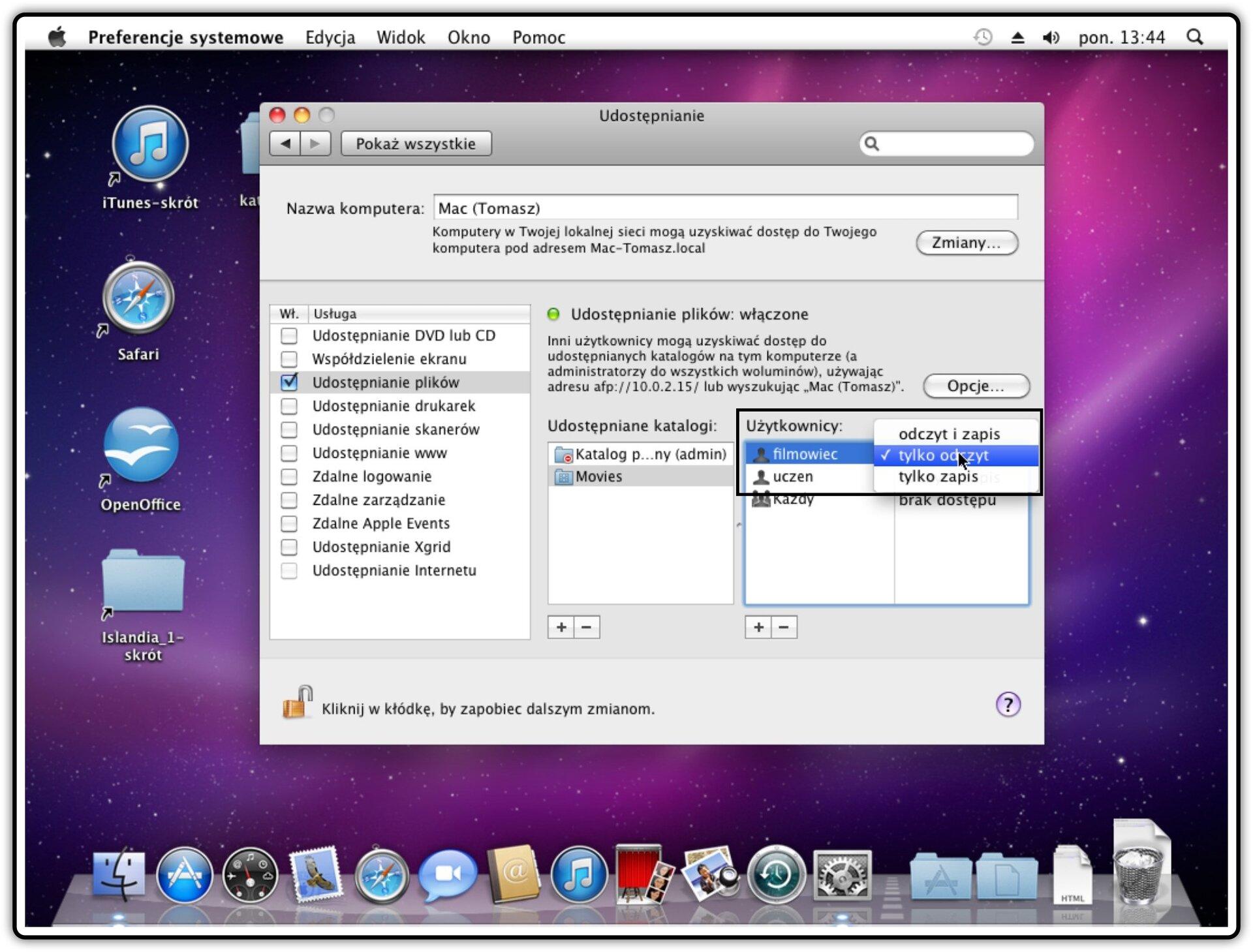 Ilustracja przedstawiająca: Krok 5 dodawania użytkownika, któremu będziemy udostępniać katalog wsystemie Mac OS X