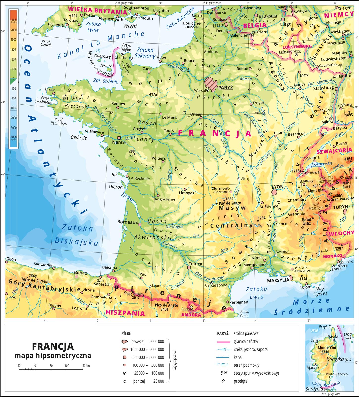 Ilustracja przedstawia mapę hipsometryczną Francji. Wobrębie lądów występują obszary wkolorze zielonym, żółtym ipomarańczowym. Na północnym-zachodzie przeważają obszary wkolorze zielonym przechodzące ku południu iwschodowi wkolor żółty ipomarańczowy. Morza zaznaczono kolorem niebieskim. Na mapie opisano nazwy wysp, półwyspów, nizin, wyżyn ipasm górskich, mórz, zatok, rzek ijezior. Oznaczono iopisano główne miasta. Oznaczono czarnymi kropkami iopisano szczyty górskie. Różową wstążką oznaczono granice państw. Kolorem czerwonym opisano państwa. Mapa pokryta jest równoleżnikami ipołudnikami. Dookoła mapy wbiałej ramce opisano współrzędne geograficzne co dwa stopnie. Na dole ilustracji wosobnej ramce wanalogiczny sposób przedstawiono Korsykę. Wlegendzie przedstawiono iopisano znaki użyte na mapie.