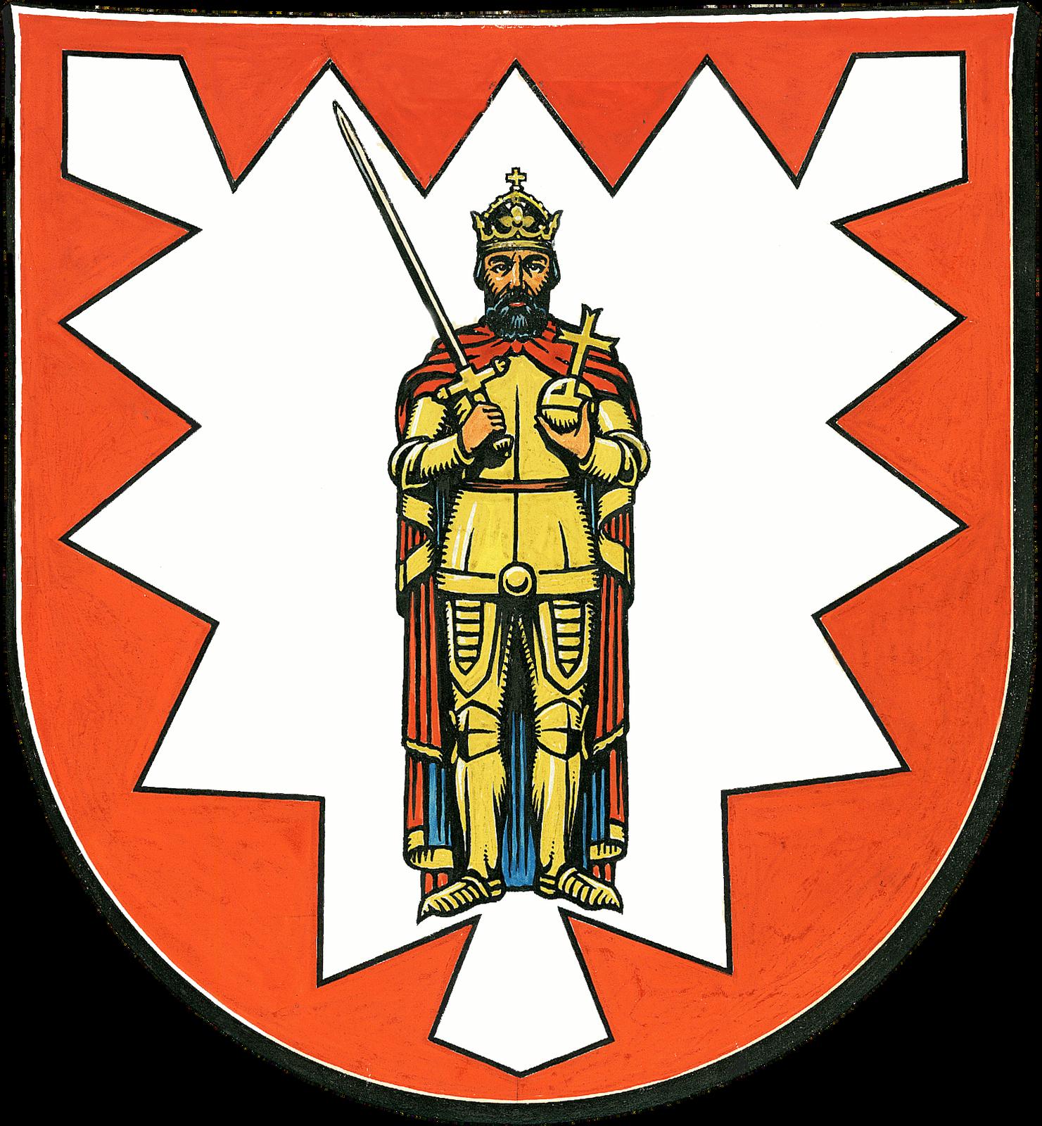Herb miasta Wedel (z postacią Rolanda) Herb miasta Wedel (z postacią Rolanda) Źródło: 1963, domena publiczna.