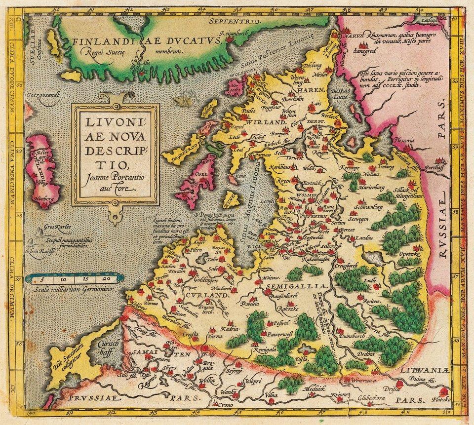 Mapa Inflant wg XVI-wiecznego atlasu Orteliusa, ok. 1573 r. – przedstawiona jako jedność polityczna Źródło: Mapa Inflant wg XVI-wiecznego atlasu Orteliusa, ok. 1573 r. – przedstawiona jako jedność polityczna, domena publiczna.