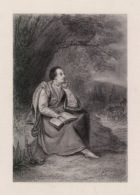 Jan Kochanowski wCzarnolesie Źródło: Antoni Oleszczyński, Jan Kochanowski wCzarnolesie, 1842, staloryt, domena publiczna.