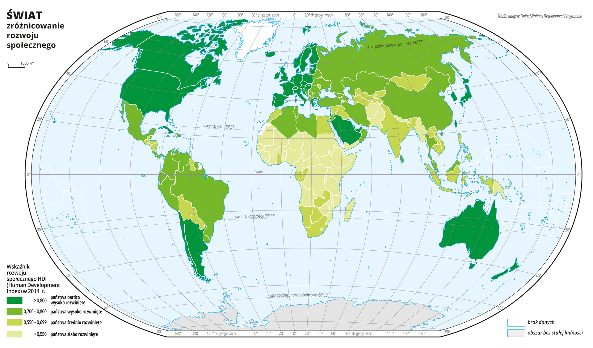 Ilustracja przedstawia mapę świata. Wody zaznaczono kolorem niebieskim. Na mapie za pomocą czterech kolorów przedstawiono zróżnicowanie rozwoju społecznego (wskaźnik rozwoju społecznego HDI) wdwa tysiące czternastym roku. Kolorem ciemnym zielononiebieskim oznaczono państwa bardzo wysoko rozwinięte – Kanadę, Stany Zjednoczone Ameryki Północnej, Argentynę, Chile, państwa wśrodkowej izachodniej części Europy, Arabię Saudyjską, Japonię iKoreę Południową, Australię iNową Zelandię.Kolor zielony obrazujący państwa wysoko rozwinięte występuje wpółnocnej części Ameryki Południowej, wMeksyku, we wschodniej części Europy iwprzeważającej części Azji środkowej ipółnocnej.Kolor brunatny ipomarańczowy obrazujący państwa średnio isłabo rozwinięte gospodarczo występuje wAfryce ipołudniowej części Azji.Mapa pokryta jest równoleżnikami ipołudnikami. Dookoła mapy wbiałej ramce opisano współrzędne geograficzne co dwadzieścia stopni.Na dole mapy narysowano cztery kolorowe prostokąty iopisano jaką wielkość wskaźnika rozwoju społecznego przedstawia dany kolor.