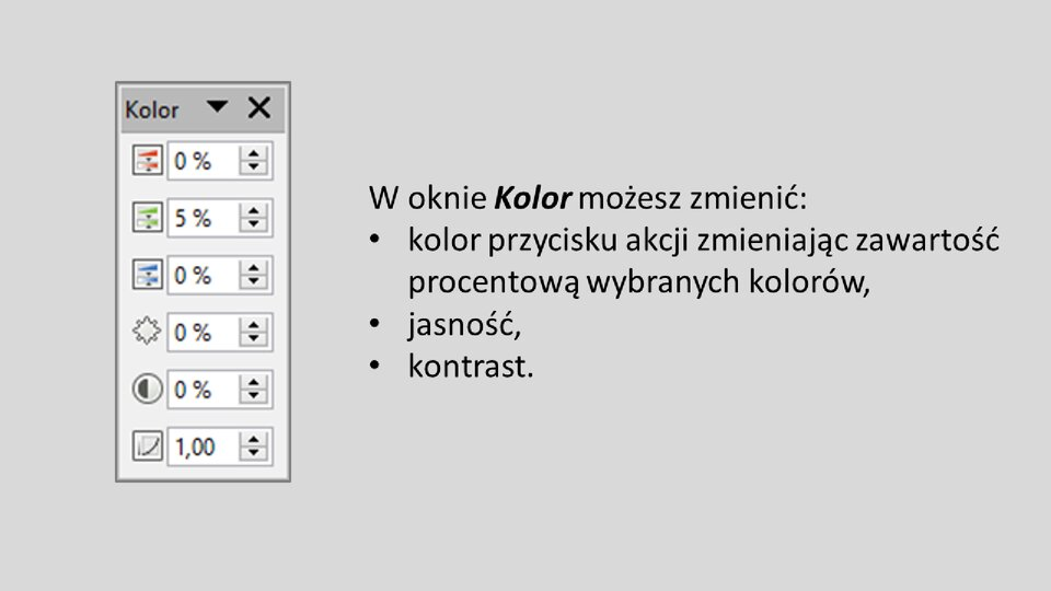 Slajd 3 galerii: Formatowanie przycisków akcji wprogramie LibreOffice Impress
