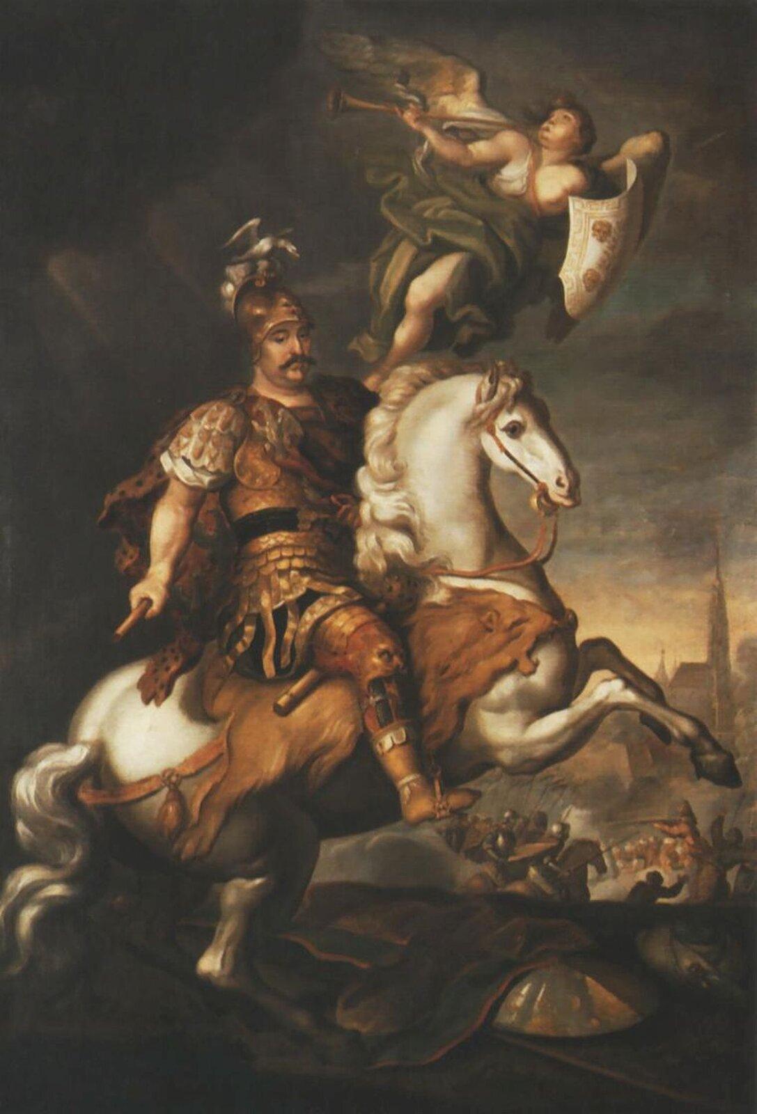 """Ilustracja przedstawia obraz Jerzego Semiginowskiego-Eleutera (Szymonowicza) """"Jan III pod Wiedniem"""". Ukazuje króla na koniu stającym dęba. Monarcha ma na sobie złotą zbroję, ana głowie hełm zpióropuszem iorłem. Nad nim znajduje się dmący wtrąbę anioł zrozłożonymi skrzydłami itarczą wlewej dłoni. Wtle rozgrywa się bitwa. Wlewym górny, rogu znajduje się ciemna chmura, spod której wydobywają się promienie słoneczne."""