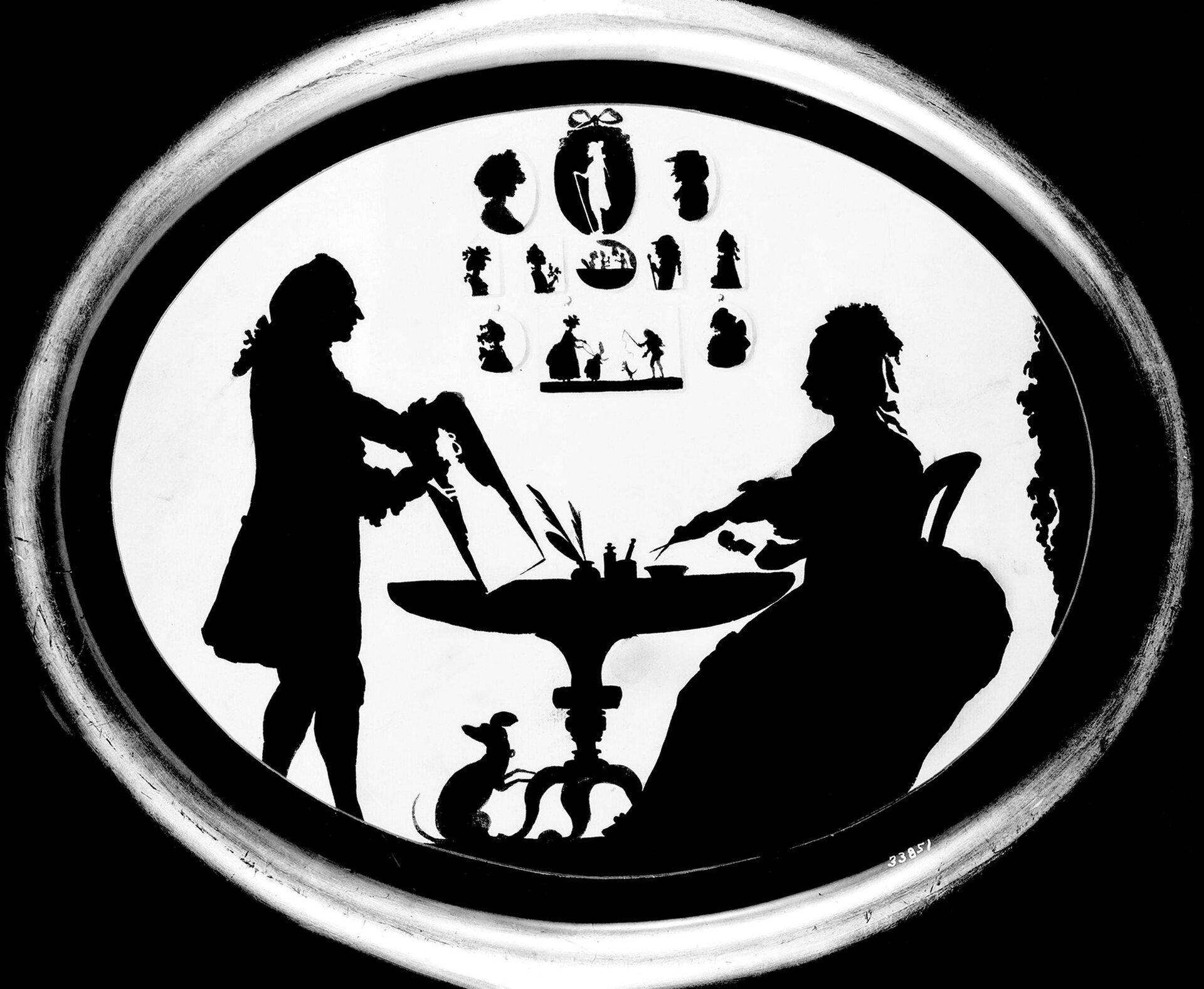 """Ilustracja przedstawiająca dzieło nieznanego autor pt. """"Mister Bethany iPatience Wright"""". Ilustracja przedstawia siedzącą przy stoliku parę."""