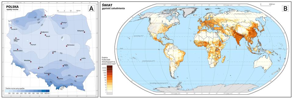 Ilustracja przedstawia dwie mapy tematyczne, mapę Aimapę B. Mapy ułożone są obok siebie. Mapy mają kształt prostokątów. Mapa A, po lewej, to mapa przyrodnicza. Wskazuje średni opad roczny wPolsce. Na mapie Aznajduje się kontur mapy Polski. Widoczne są nazwy miast wojewódzkich. Niebieskie linie oznaczają największe rzeki wPolsce. Na lewo od mapy wgórnym rogu znajduje się tytuł mapy: Polska opady roczne. Wlewym dolnym rogu znajduje się legenda onagłówku: Średnie roczne sumy opadów. Poniżej małe kolorowe prostokąty ułożone poziomo jeden przy drugim. Im dalej wprawo tym kolory niebieskie wypełniające prostokąciki stają coraz ciemniejsze. Na samym końcu po prawej stronie prostokąt jest granatowy. To opady ponad tysiąc czterysta milimetrów na metr kwadratowy. Po przeciwnej stronie prostokąt ma kolor prawie biały ioznacza opady poniżej pięciuset milimetrów. Powierzchnia kraju jest pokryta różnymi odcieniami koloru niebieskiego. Na południu Polski, kolor jest ciemny. Opady wynoszą od dziewięciuset do tysiąca milimetrów na metr kwadratowy. Kolor jest jaśniejszy bliżej centrum kraju. Opady mieszczą się wgranicach od pięciuset do dziewięćset milimetrów na metr kwadratowy. Kolory przedstawiają falujące pasma. Centrum Polski jest zacieniowane jasnym kolorem niebieskim – tam są najmniejsze opady. Na północy kolor jest ciemniejszy. Na prawo od mapy Aznajduje się mapa B. Mapa Bto mapa społeczno-gospodarcza. Mapa świata wkształcie elipsy zodciętymi górą idołem. Dłuższe boki ustawione poziomo. Mapa przedstawia kontury wszystkich kontynentów. Wprawej części mapy krótka legenda. Legenda wpostaci małych poziomych prostokątów ułożonych pionowo jeden pod drugim. Tworzą pionową kolumnę. Każdy prostokąt odnosi się do średniej gęstości zaludnienia wdanym obszarze świata. Gęstość zaludnienia jest przedstawiona wpostaci zmieniających się odcieni koloru brązowego, pomarańczowego iżółtego. Na górze prostokąt jest ciemnobrązowy co wskazuje na ponad pięćdziesiąt tysięcy osób mieszkających na jedny