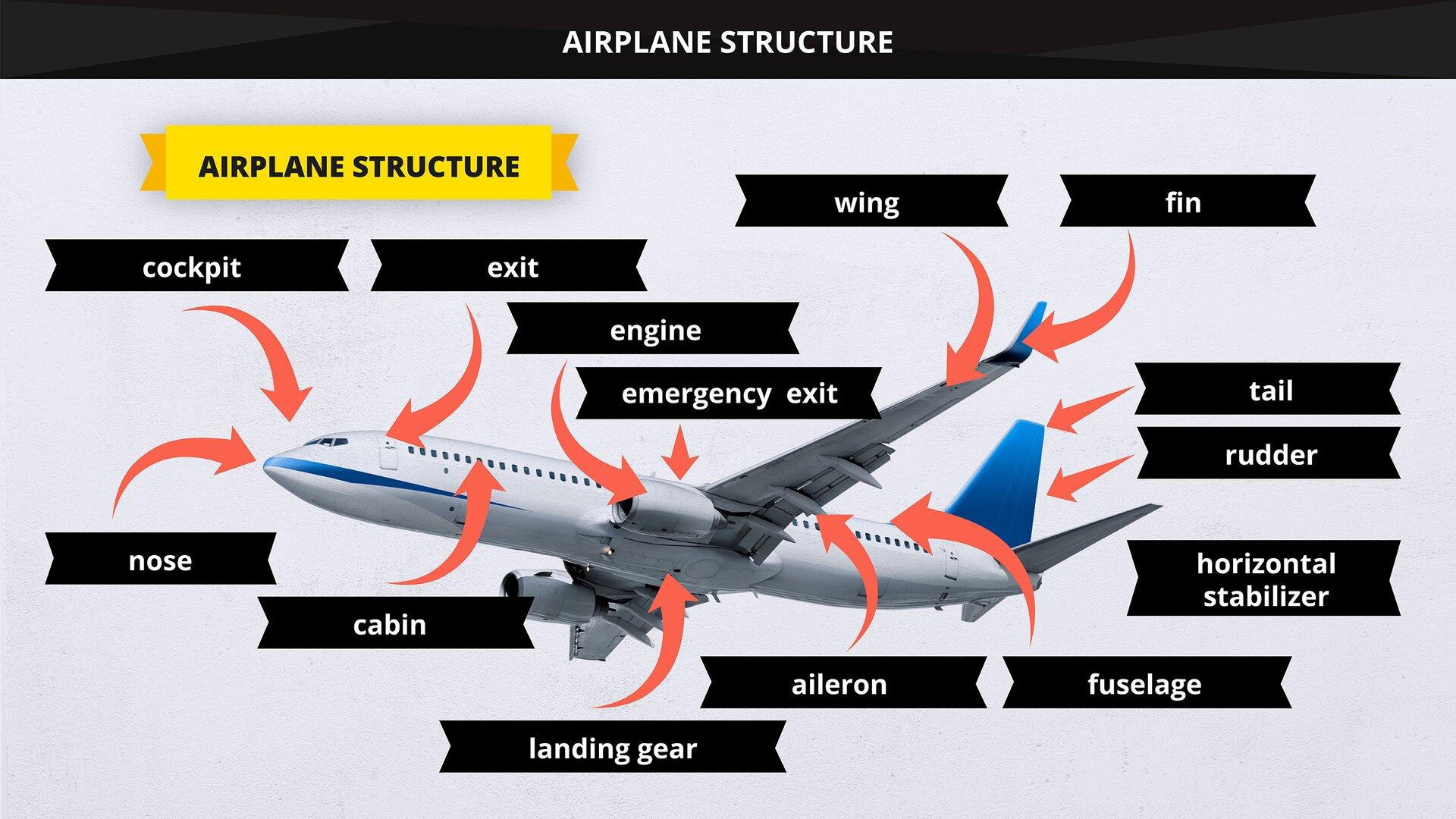 The image presents the main elements of an airplane's structure. Grafika przedstawia główne zespoły konstrukcyjne samolotu.