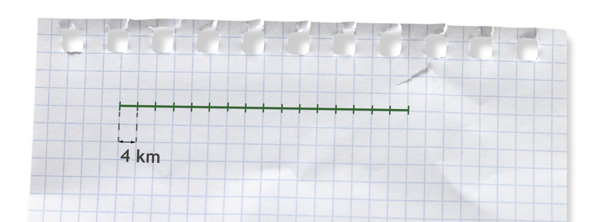 Rysunek odcinka podzielonego na szesnaście równych części. Każda część to 4 kilometry.
