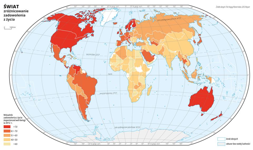Ilustracja przedstawia mapę świata. Wody zaznaczono kolorem niebieskim. Na mapie za pomocą pięciu kolorów (pomarańczowy, jasnopomarańczowy, brązowy, zielonkawyi szary) przedstawiono zadowolenie zżycia wposzczególnych państwach wdwa tysiące dwunastym roku.Kolor ciemnopomarańczowy obrazuje bardzo duże zadowolenie zżycia iwystępuje wAmeryce Północnej, Skandynawii, kilku państwach wzachodniej części Europy, Kostaryce, Wenezueli iAustralii. Kolor jasnopomarańczowy obrazuje duże zadowolenie zżycia iwystępuje wMeksyku, przeważającej części Ameryki Południowej iEuropie Zachodniej, Tajlandii, Arabii Saudyjskiej iUzbekistanie.Kolor brązowy obrazuje środkowy przedział zadowolenia zżycia iobejmuje większość krajów środkowoeuropejskich ipółnocną część Azji.Kolory zimne, szare obrazujące najniższe zadowolenie zżycia występują m.in. na przeważajacym terenie Afryki, ponadto wMongolii, Chinach, Iranie, Afganistanie, Indiach, Nepalu, Bangladeszu.Mapa pokryta jest równoleżnikami ipołudnikami. Dookoła mapy wbiałej ramce opisano współrzędne geograficzne co dwadzieścia stopni.Na dole mapy narysowano pięć kolorowych prostokątów iopisano jakie zadowolenie zżycia wposzczególnych państwach wdwa tysiące dwunastym roku obrazuje każdy kolor.