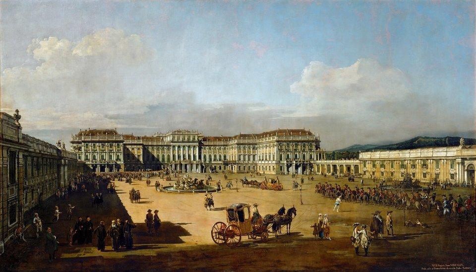 Pałac cesarski pod Wiedniem wSchönbrunn Źródło: Bernardo Bellotto, Pałac cesarski pod Wiedniem wSchönbrunn, 1758/61, olej na płótnie, Muzeum Historii Sztuki wWiedniu, domena publiczna.