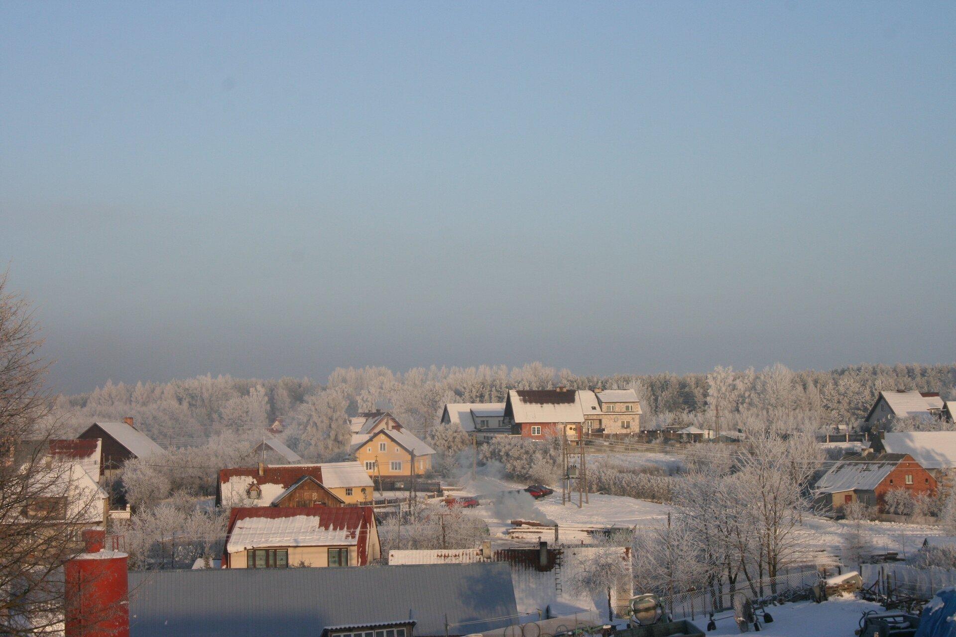 Ilustracja przedstawia wieś Kosewo zimą. Słoneczny dzień. Zabudowa wiejska. Domy jednorodzinne ułożone niesymetrycznie. Spadziste dachy domów pokryte śniegiem. Pomiędzy domami wysokie drzewa pokryte srebrzysto białą szadzią. Wtle, za domami, teren leśny. Korony drzew wlesie białe. Cały teren pokryty śniegiem. Powyżej linii horyzontu błękitne niebo nieco zamglone.