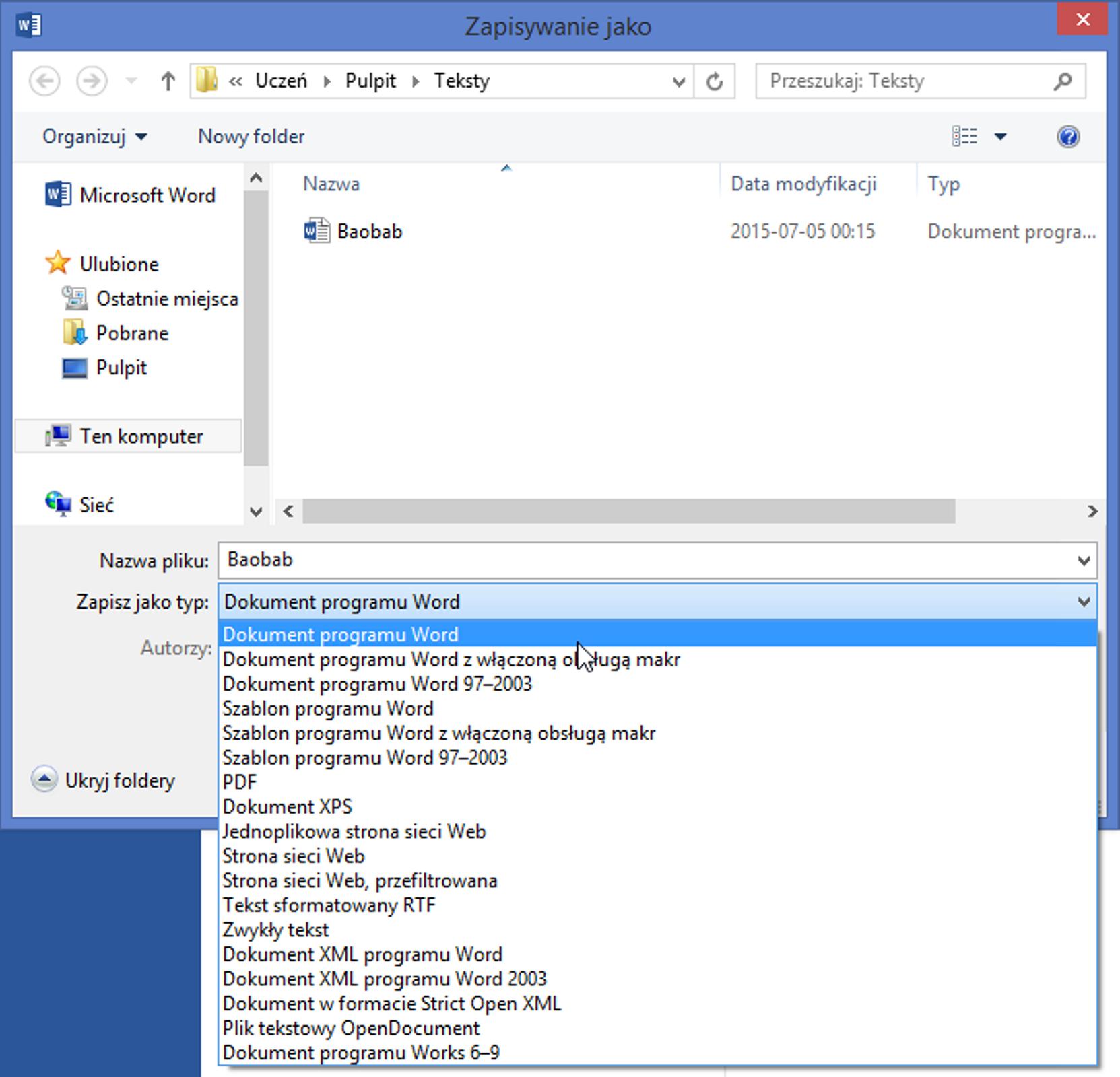 Zrzut okna: Zapisywanie jako zrozwiniętą listą: Zapisz jako typ wprogramie MS Word