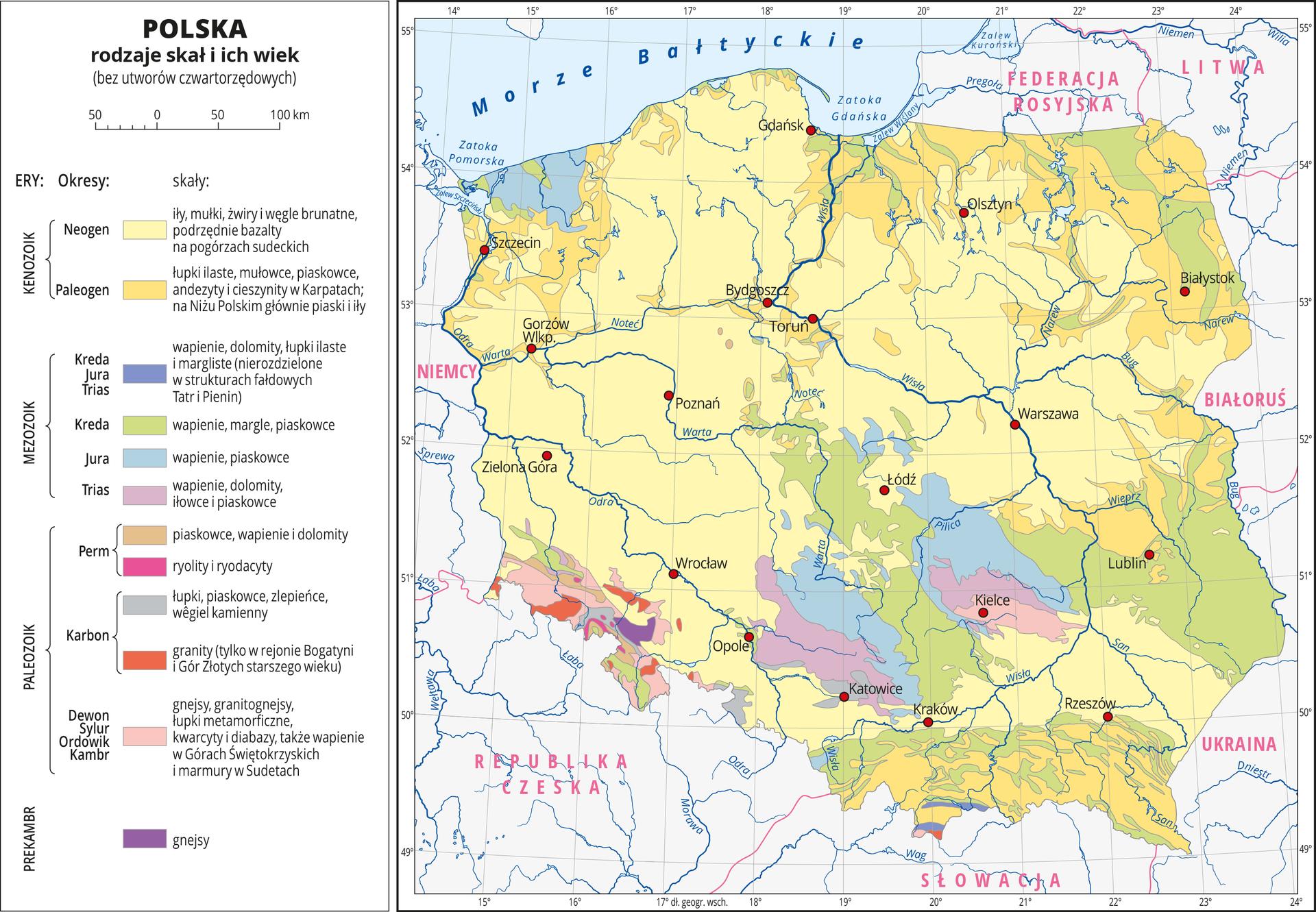 Ilustracja przedstawia mapę Polski . Na mapie kolorami zaznaczono rodzaje skał iich wiek. Większą część obszaru Polski pokrywa kolor żółty, który obrazuje występowanie najmłodszych skał ery kenozoiku – iłów, mułków, żwirów, węgli brunatnych, łupków ilastych , mułowców ipiaskowców, andezytów icieszynitów. Na południu oznaczono kolor niebieski izielony obrazujący występowanie wapieni, dolomitów, margli ipiaskowców zery mezozoiku. Najstarsze skały pochodzące zery prekambryjskiej ipaleozoicznej występują wrejonie Sudetów. Czerwonymi kropkami zaznaczono miasta wojewódzkie. Opisano rzeki. Dookoła mapy wbiałej ramce opisano współrzędne geograficzne co jeden stopień. Po lewej stronie mapy wlegendzie umieszczono wpionie dwanaście kolorowych prostokątów, które opisano nazwami skał. Wydzielono pięć er iczternaście okresów.