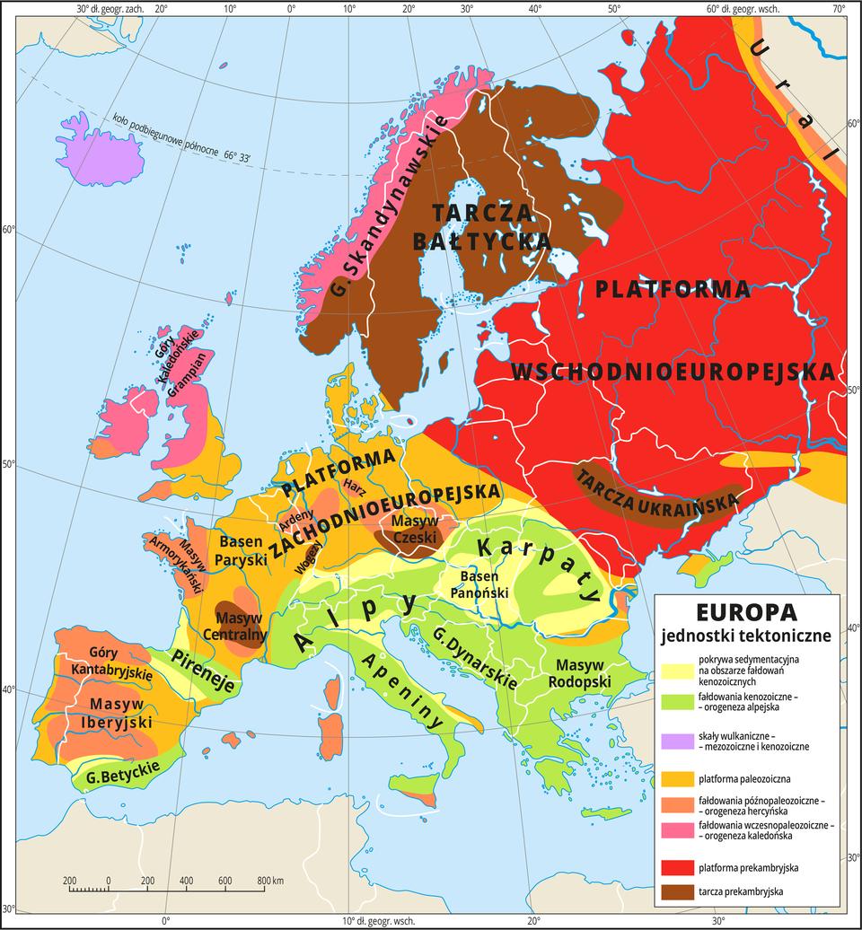 Ilustracja przedstawia mapę Europy. Na mapie kolorami zaznaczono osiem głównych jednostek tektonicznych. Jednostki opisano. Największą część Europy zajmuje oznaczona kolorem czerwonym platforma wschodnioeuropejska, kolorem zielonym oznaczono fałdowania kenozoiczne – Alpy, Karpaty, Apeniny, Góry Dynarskie, Pireneje iGóry Betyckie. Kolorem pomarańczowym oznaczono platformę paleozoiczną – platformę zachodnioeuropejską. Pozostałe kolory obrazujące inne jednostki tektoniczne występują na mapie na mniejszych obszarach isą rozmieszczone nierównomiernie. Największa znich to tarcza prekambryjska wpostaci tarczy bałtyckiej (kolor ciemnobrązowy), dalej obszary fałdowań wczesnopaleozoicznych – Góry Skandynawskie oraz góry na terenie Irlandii iśrodkowej ipółnocnej Wielkiej Brytanii (kolor ciemnoróżowy). Cała Islandia pokryta jest kolorem filetowym, który oznacza skały wulkaniczne pochodzenia mezozoicznego ikenozoicznego. Kolor jasnobrązowy oznacza fałdowania późnopaleozoiczne, czyli hercyńskie. Tym kolorem zaznaczone są m.in.: Masyw Iberyjski iGóry Kantabryjskie na Półwyspie Iberyjskim, Masyw Armorykański na terenie północno-zachodniej Francji, oraz Ardeny igóry Harz. Dookoła mapy wbiałej ramce opisano współrzędne geograficzne co dziesięć stopni. Po prawej stronie mapy wlegendzie umieszczono wpionie osiem kolorowych prostokątów, które opisano nazwami jednostek tektonicznych.