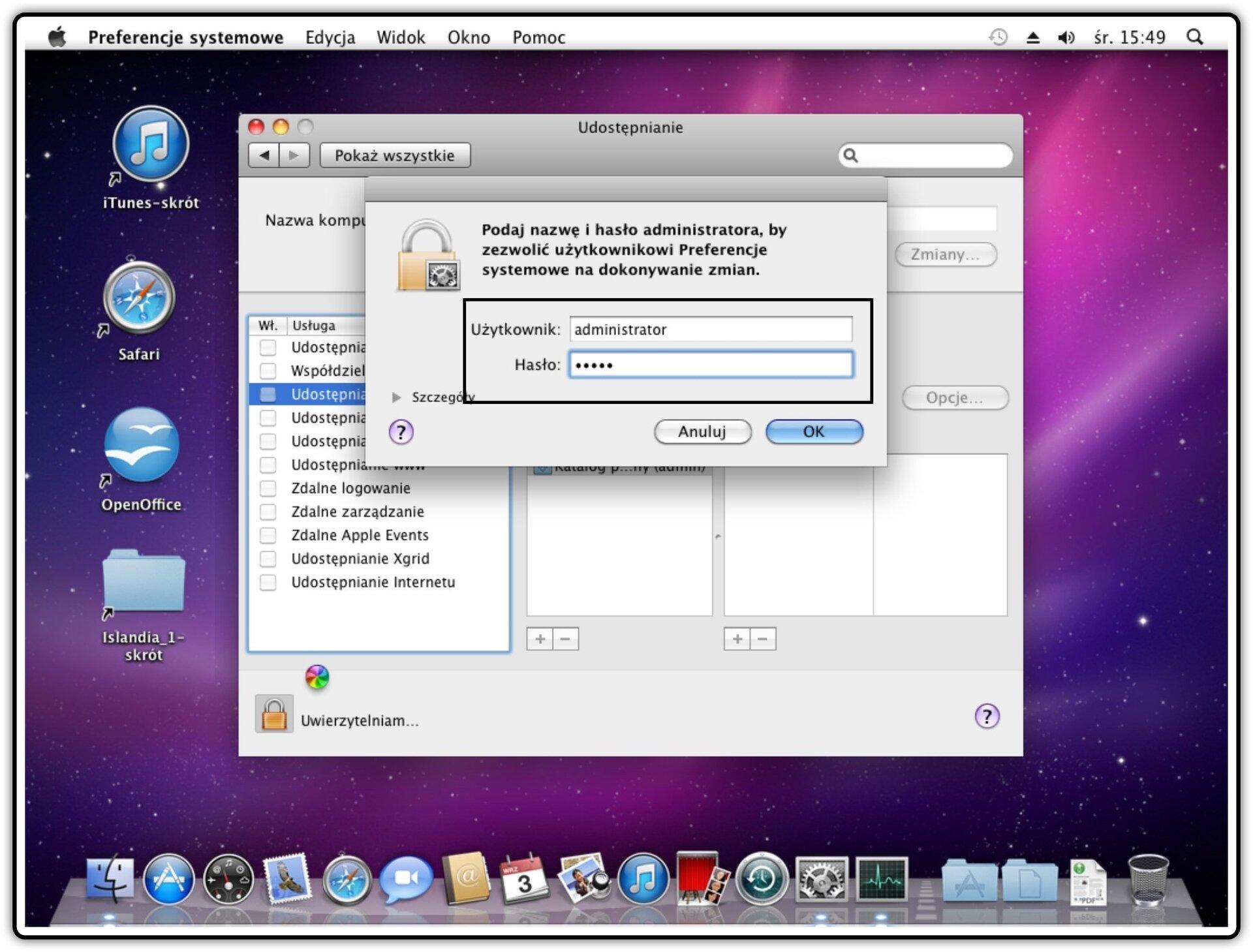 Ilustracja przedstawiająca: Krok 4 udostępniania plików wsystemie Mac OS X