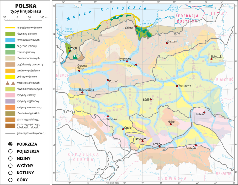 Ilustracja przedstawia mapę Polski. Na mapie za pomocą kolorów przedstawiono typy krajobrazu.Na mapie przedstawiono iopisano rzeki ijeziora, miasta, przedstawiono granice Polski igranice województw, opisano nazwy państw sąsiadujących. Szarymi liniami przedstawiono granice pasów krajobrazu.Mapa składa się zwarstw, które można dowolnie wyłączać. Na kolejnych warstwach przedstawiono jakie typy krajobrazu występują wposzczególnych pasach rzeźby terenu, wśród których wydzielono: pobrzeża, pojezierza, niziny, wyżyny, kotliny igóry.Warstwa pobrzeży: Kolorem beżowym oznaczono równiny morenowe, które wypełniają niemal całą powierzchnię tego pasa krajobrazu. Na tej warstwie widać również oznaczony kolorem zielonym krajobraz równin deltowych uujścia rzek ikrajobraz bagienno-jeziorny oznaczony kolorem ciemnozielonym. Linia wybrzeża pokrywa się zoznaczonym żółtą linią krajobrazem mierzejowo-wydmowym.