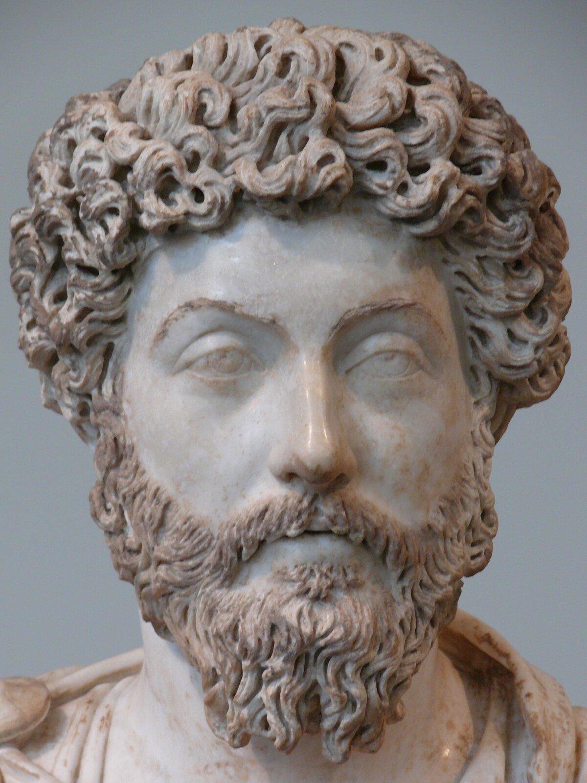 """Rzeźba nieznanego autora przedstawia popiersie """"Marka Aureliusza"""", która została wykonana zjasnego materiału, na którym widoczne są różnej wielkości odbarwienia. Marek Aureliusz został przedstawiony jako mężczyzna wśrednim wieku, ośredniej długości kręconych włosach iśredniej długości zaroście. Twarz mężczyzny pozbawiona jest zmarszczek."""