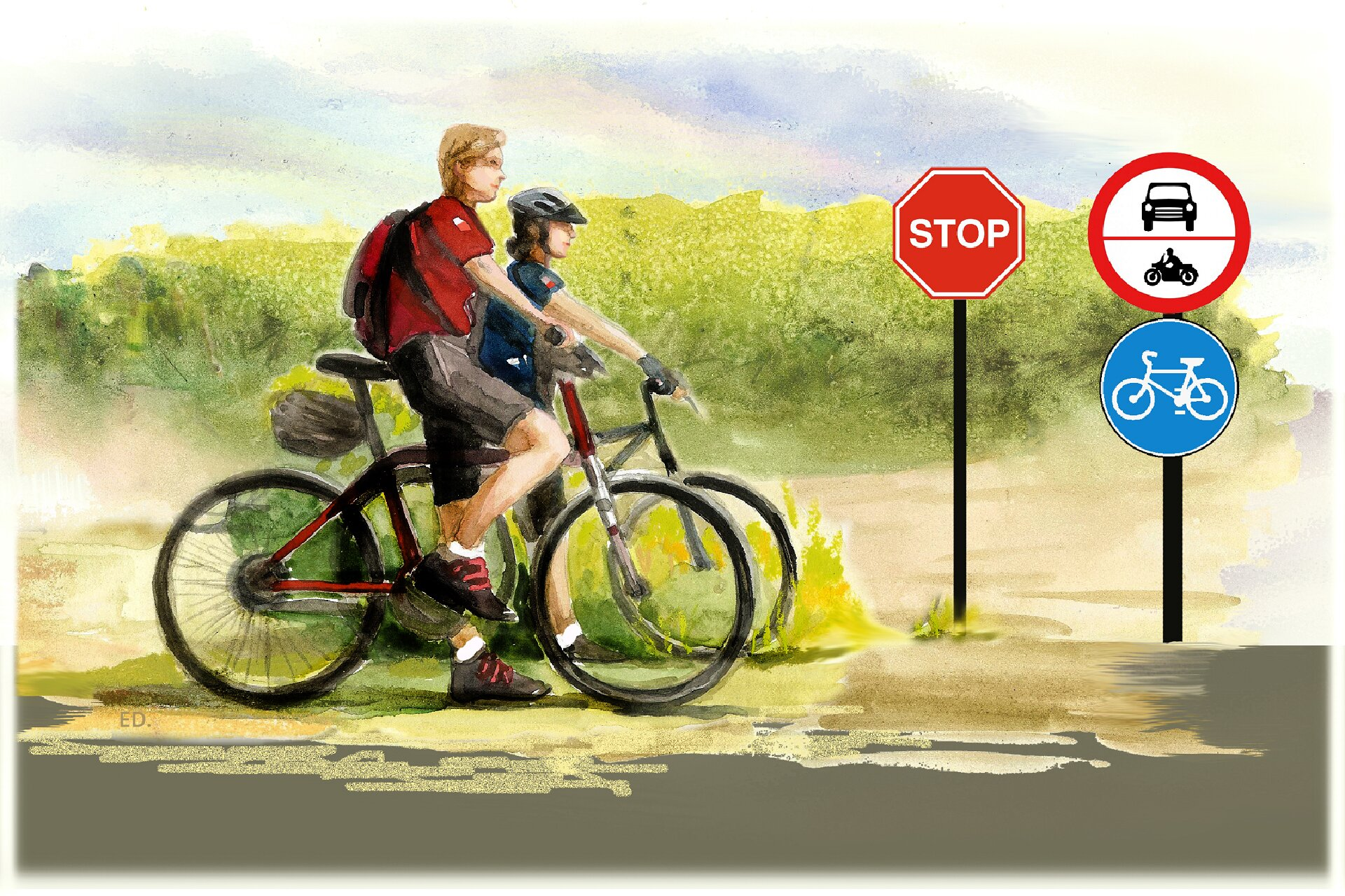 Ilustracja przedstawiająca rowerzystów iznaki drogowe