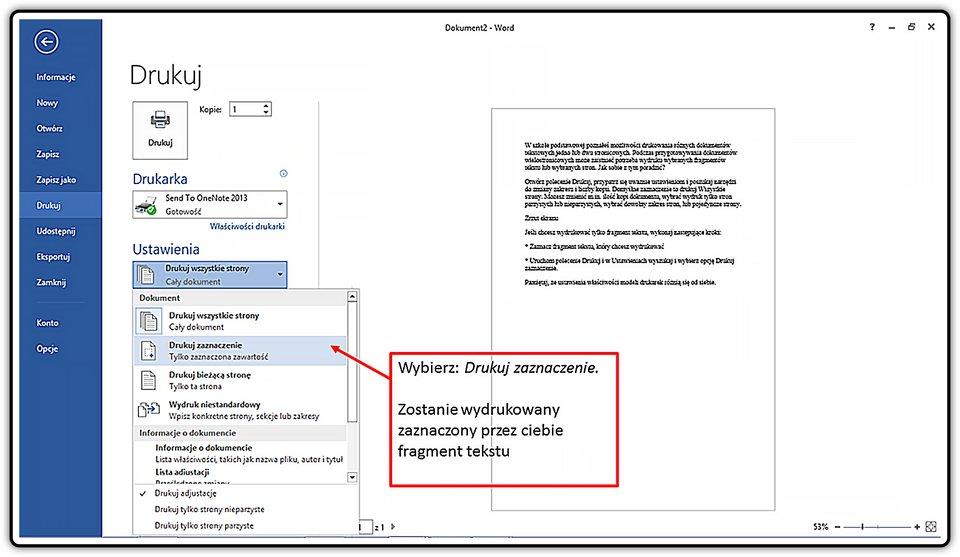 Slajd 3 galerii: Drukowanie fragmentu dokumentu wprogramie MS Word